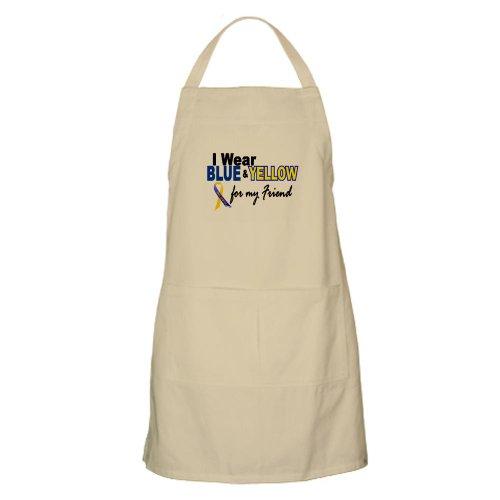Cafepress I Wear Blue Yellow....2 Friend BBQ Apron - Standard
