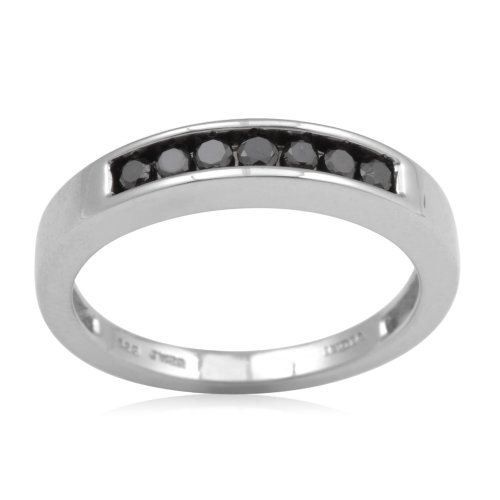 Sterling Silver Black Diamond Anniversary Ring (1/2 cttw, I-J Color, I3 Clarity), Size 6