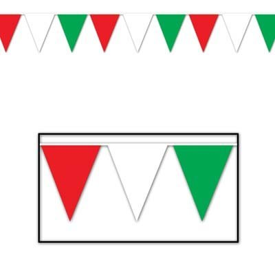 Beistle 50702-RWG Outdoor Pennant Banner, 17 by 30-Feet, Red White Green