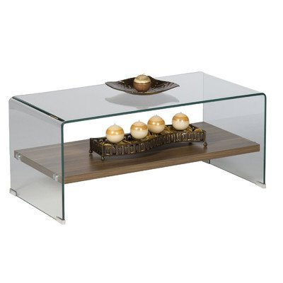 Alfa-Tische M1783 Couchtisch Casio, 100 x 50 cm, geformtes Glas mit Ablageboden