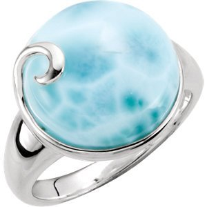 Sterling Silver Larimar Ring Size 6