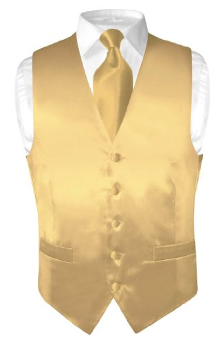 Biagio Men's Solid GOLD Color SILK Dress Vest NeckTie Set size Xlarge