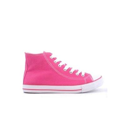 Ladies Fuschia Pink Lace Up Canvas Baseball Pumps 5.89123