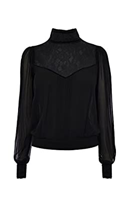 HIGH-NECK LACE-PANEL BLOUSE
