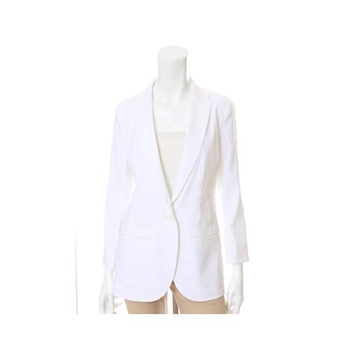 (イネド)INED 汗ワキパッド付き麻混ロングジャケット オフホワイト 11