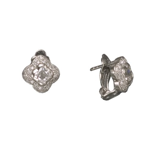 FANCY CUT C.Z. CLIP RHODIUM PLATED (.925) STERLING SILVER EARRINGS (Nice Holiday Gift, Special Black Firday Sale)