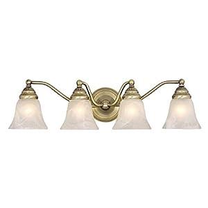 Brass Finish Vanity Lights : Vaxcel VL35124A Standford 4 Light Vanity Light, Antique Brass Finish - Vanity Lighting Fixtures ...