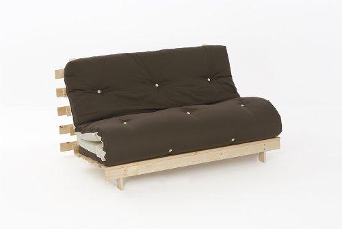 4ft6 (135cm) Double Wooden Futon with CHOC/CREAM Mattress