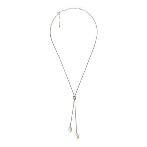 Fine Jewelry Imitation Pearl Knotted Sterling Silver Lariat Y-Necklace