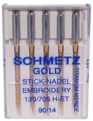 Buy Bargain Schmetz Gold Titanium Embroidery Needles Size 90/14