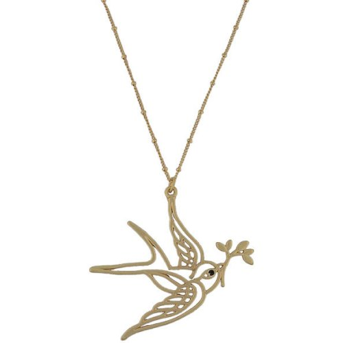 High-Fashion Brass Tone Bird Pendant Necklace-43 + 5 CM