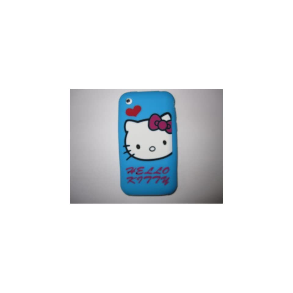 I Phone 3G 3GS light weight Heart Hello Kitty Silicone Case / Skin Blue