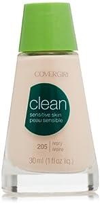 CoverGirl Clean Sensitive Skin Liquid Makeup, Ivory (N) 205, 1.0-Ounce
