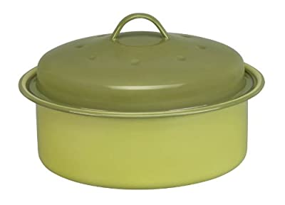 Cinsa 312035 Trend Ware Enamel on Steel Round Roaster with Lid, 2-1/2-Quart, Green Tea