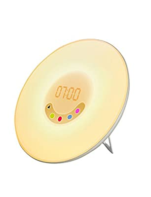 YaPeach Sunrise Simulation Wake-up Light, 5 Sounds Alarm Clock 3 Colors Atmosphere Lamp 3-Brightness Bedside Light with FM Radio for Procrastinator Environmentalist Nature Lover
