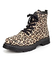 Leather Animal Print Lace Up Boots