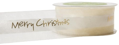 May Arts 1-1/2-Inch Wide Ribbon, Ivory Merry Christmas Print