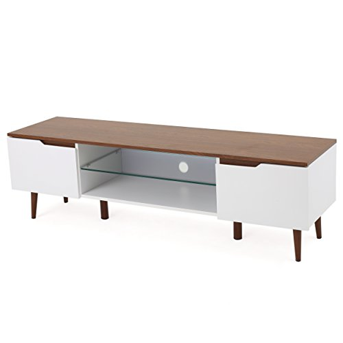 Reginald Mid Century Modern TV Stand (White with Walnut Finish) (Mid Century Tv Stand compare prices)