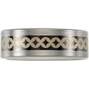 Dura Tungsten Black and Gold Diamond Pattern Comfort Fit Band Size 8