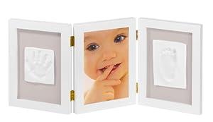 My Sweet Memories 34122003 - Marco triple para foto y 2 huellas de bebé, color blanco en Bebe Hogar
