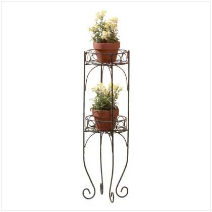 Gifts & Decor Scrolled Metal 2-Tier Plant Stand Shelf Unit (Tall Plant Stand compare prices)