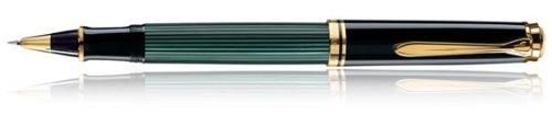 Pelikan Souveran R800 - Bolígrafo de punta rodante, color negro, verde dorado