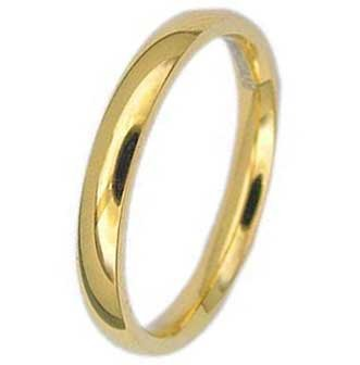 3MM High Polished Stainless Steel Gold Plated Wedding Band