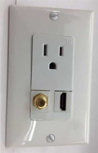 Custom White Wall Plate Hubbell Ac 15A 110V Power Outlet + Hdmi 1.4 + F-Type Coax Tv Hdtv 3Dtv