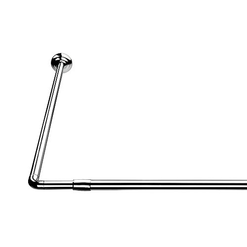 Croydex L Shaped Telescopic Silver Shower Curtain Rail 1400mm - 2600mm