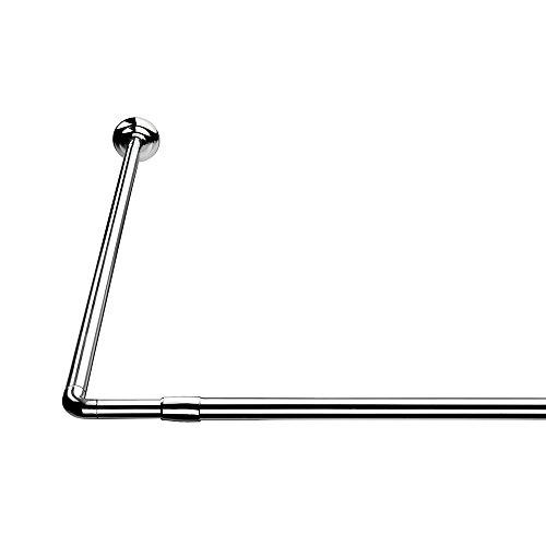 Croydex L Shaped Telescopic Silver Shower Curtain Rail 1400mm - 2600mm
