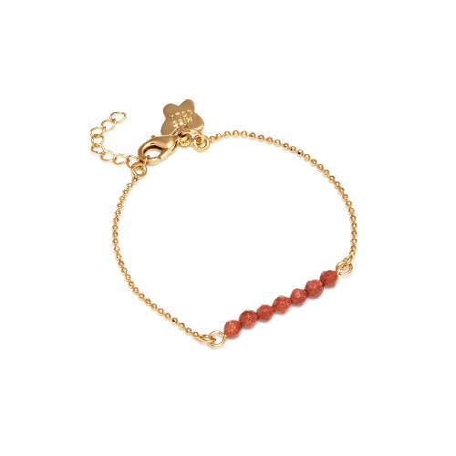 Miss Lola 'Daffodil' Brass with a Gold Tone Bracelet with a Row of 7 Facetted Goldsand Stone Beads