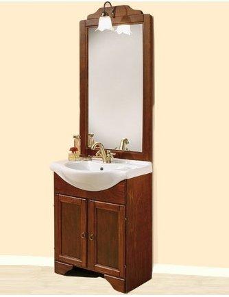 Mobile Arredo Bagno Portofino arte povera cm 65 in noce massello con lavabo in ceramica e specchio Mobili