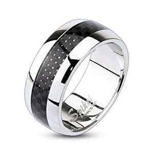 316L Stainless Steel Carbon Fiber Inlay Center Dome Band Ring 7mm Sz 5-8, 9mm Sz 9-13; Comes with Free Gift Box (7)