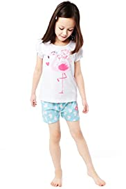 Pure Cotton Flamingo Print Shortie Pyjamas