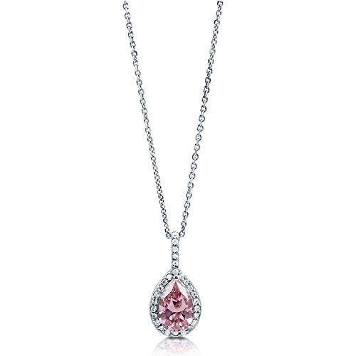 [ジュエリーキャッスル] Jewelry Castle ネックレス 1.33ct ティアドロップ ファンシーピンク ヘイローペンダント CZダイヤモンド (キュービックジルコニア)