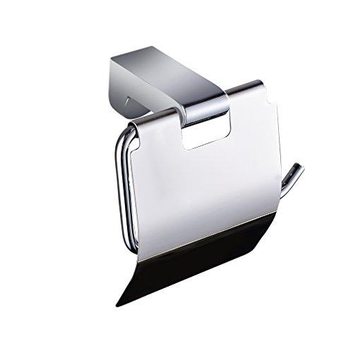 ARUHE® Support Mural de Papier Toilette Porte-Rouleau Chromé avec Couvercle pour Salle de Bain ou Cuisine