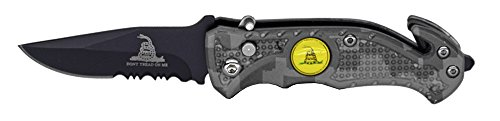"3"" Don't Tread on Me Gadsden AO Rescue Folding Knife - Digital Camo"
