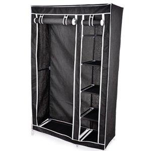 schwarz kleiderschrank garderobenschrank faltschrank stoffschrank campingschrank schrank 175 x. Black Bedroom Furniture Sets. Home Design Ideas