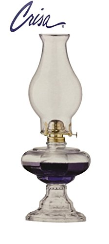 Crisa Vintage Clear Oil Lamp with Glass Globe and Bronze Burner, 6-feet-by-3/4-Inch