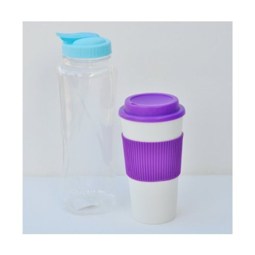 Hot and Cold Beverage Set in Complementary Color Combinations (Blue/Purple)
