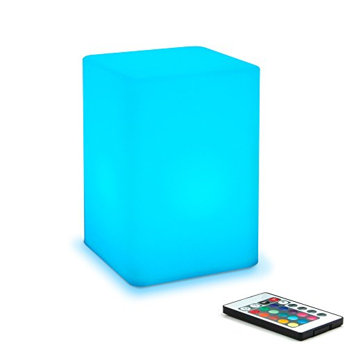 Mr.Go 6-inch Dimmable LED Night Light Mood Lamp for Kids and Adults - 16 RGB Colors - 5 Level Dimming - 4 Lighting Effects - Rechargeable - Remote Control - Decorative - Fun and Safe - White Cube (Hot Pink Lightbulbs compare prices)