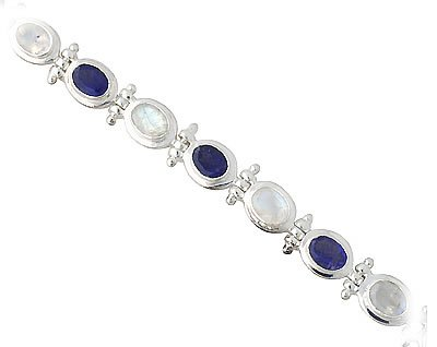 Moonstone and Iolite Bracelet in Sterling Silver