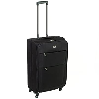 Unicorn Crane Cabin Approved 4 Spinner Wheels Super Lightweight Suitcase (Black)