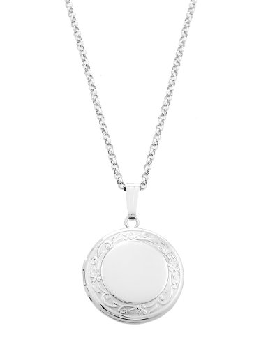 Sterling Silver Engravable Round Designed Locket Necklace