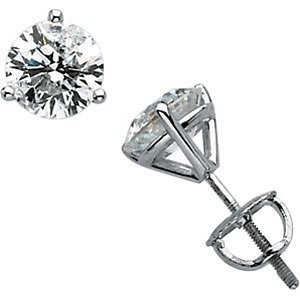 14k White Gold Round Martini Style Diamond Stud Earrings (2.00 Ct tw, GH Color, SI2-SI3 Clarity)