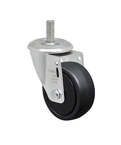 Schioppa L12 Series, GLEEF 312 NPP, 3 x 1-1/4″ Swivel Caster, Non-Marking Polypropylene Wheel, 150 lbs, 3/8″ Diameter x 1-1/2″ Length Threaded Stem