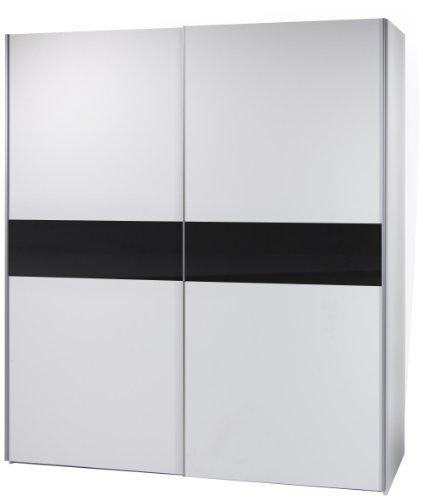 BEGA 58-301-25 Victor 2 Schwebetürenschrank weiß, Bauchbinde schwarz, circa 170 x 195 x 63 cm