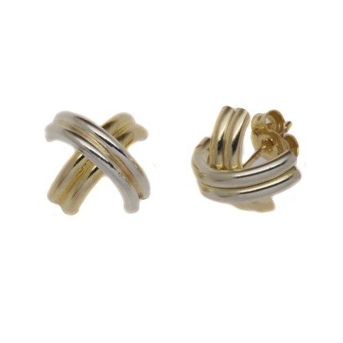 9ct Two-Colour Yellow  &  White E2168 Tube Stud Earrings