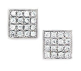 14ct White Gold CZ Medium Multistone Square Fancy Post Earrings - Measures 8x8mm