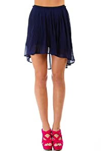 Pin Holed Pleated Skirt in Navy